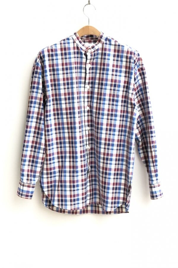 STAND COLLAR CHECK SHIRT