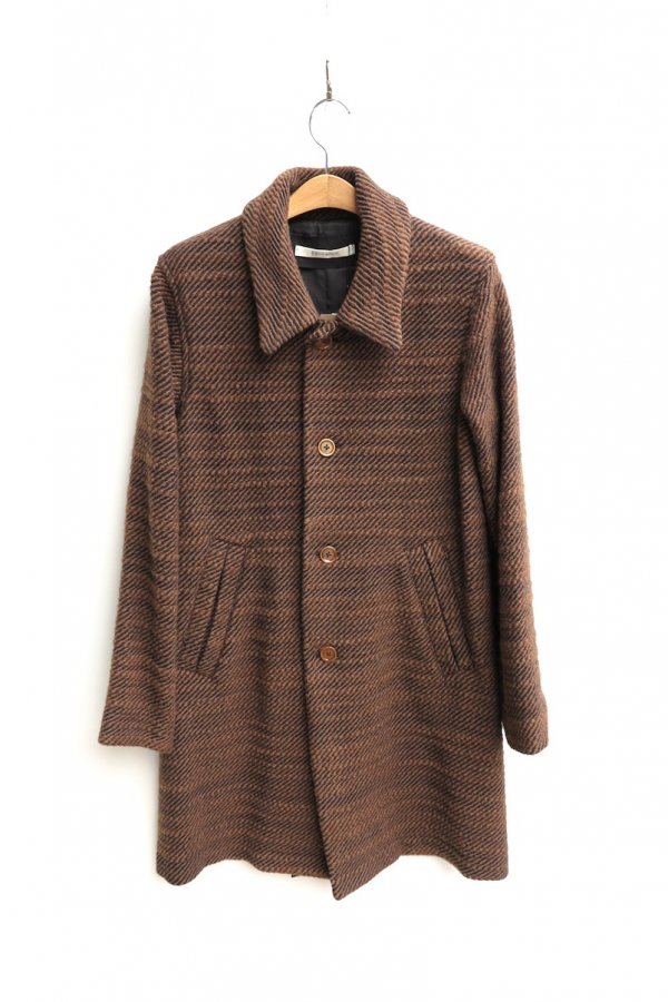 SOUTIEN COLLAR COAT – WOOL NYLON STRANGE SLAB TWEED