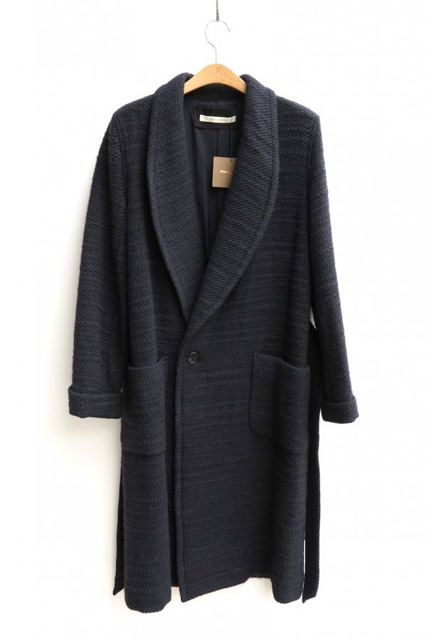 LONG GOWN COAT – WOOL NYLON STRANGE SLAB TWEED