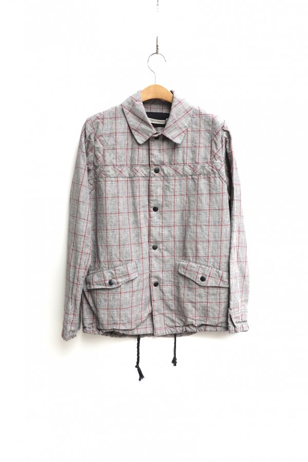 CHECK BLOUSON – LINEN COTTON PRINCE OF WALES WASHER