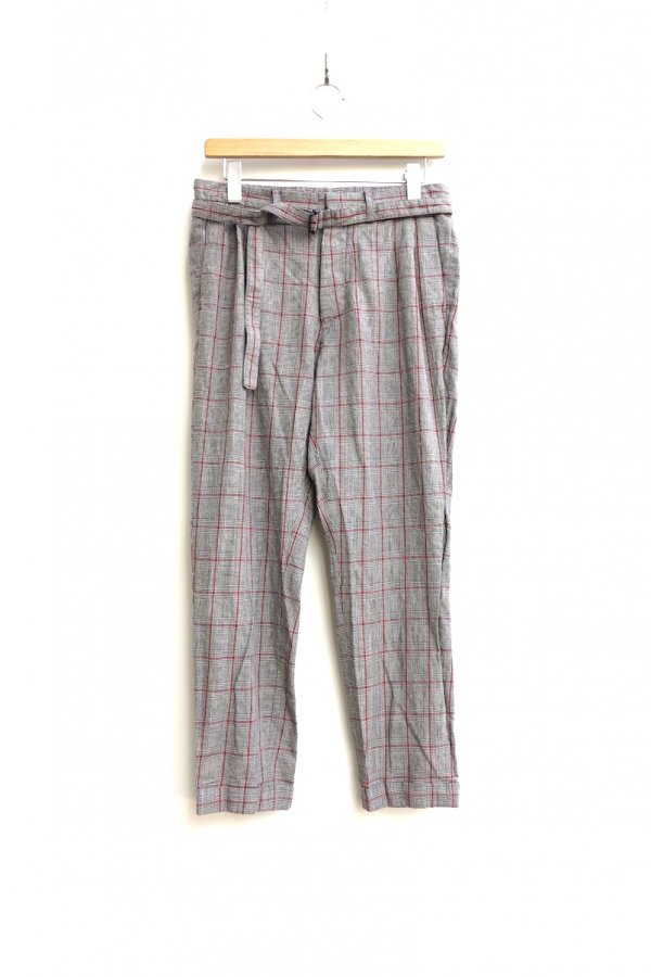 Honor gathering/CHECK BELTED PANTS – LINEN COTTON PRINCE OF WALES WASHER