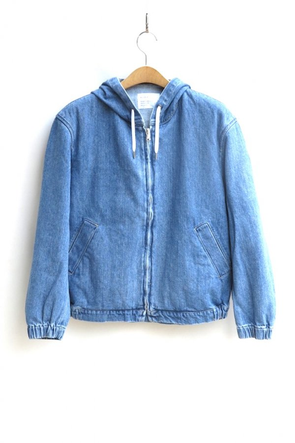 DENIM HOODED ZIP BLOUSON