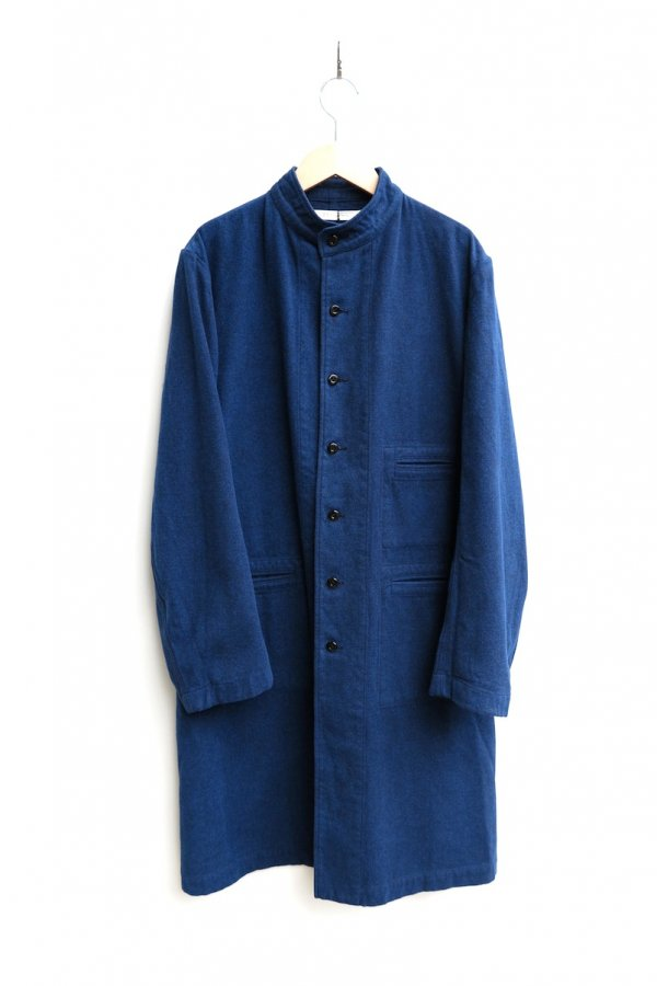 STAND COLLAR COAT – BLANKET FINISH COTTON RATINE