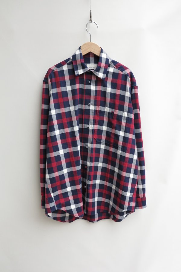 TONSURE/Oversize shirt – Red/Black/White Check
