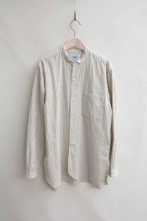 BUTTON SHIRT STAND COLLAR PO LONG (STRIPE)