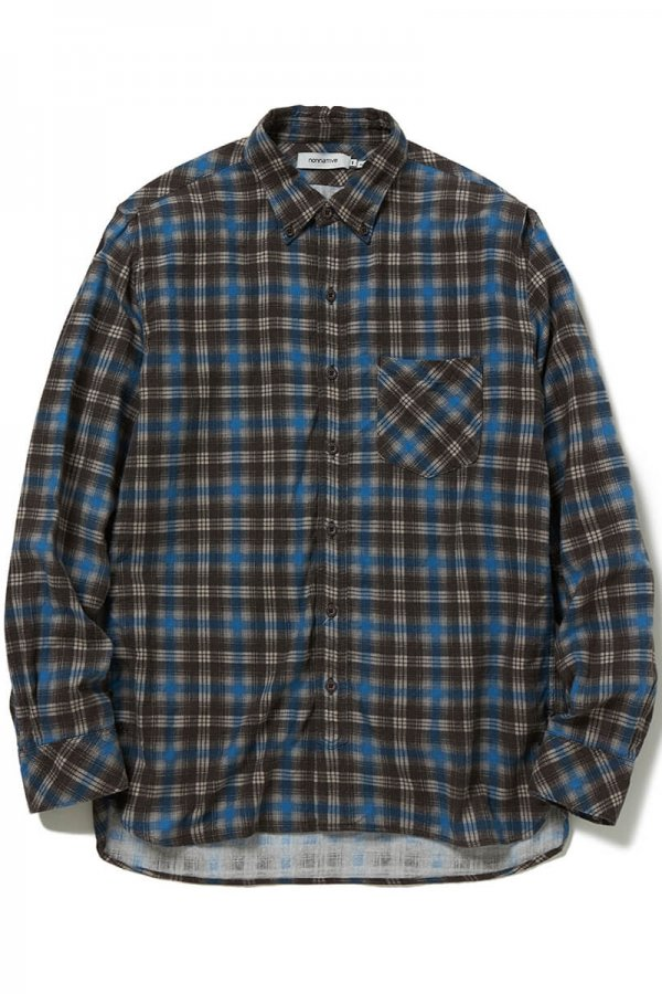 DWELLER B.D. SHIRT COTTON TWILL PLAID PRINT