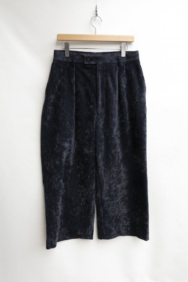LINEN VELVET SIDE DIRTS POCKET WIDE PANTS