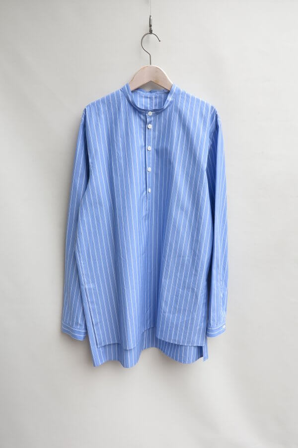COTTON TWILL BAND COLLAR SHIRT