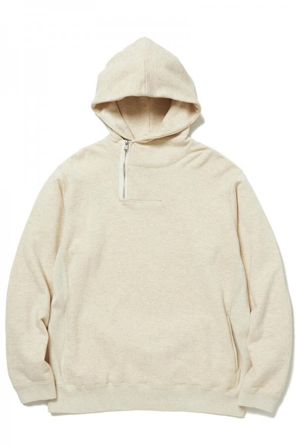 DWELLER HALF ZIP HOODY COTTON SWEAT