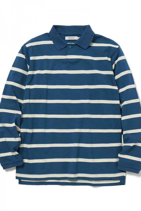 DWELLER POLO L/S TEE COTTON JERSEY BORDER