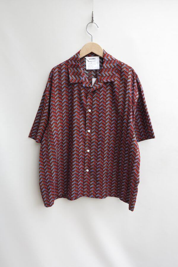 Open Collar S/S Shirt2(Herringbone)