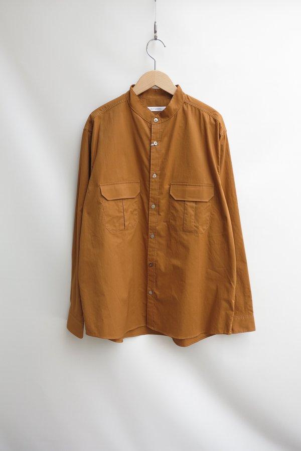 Asymmetry Cargo Pocket Band Collar Shirts