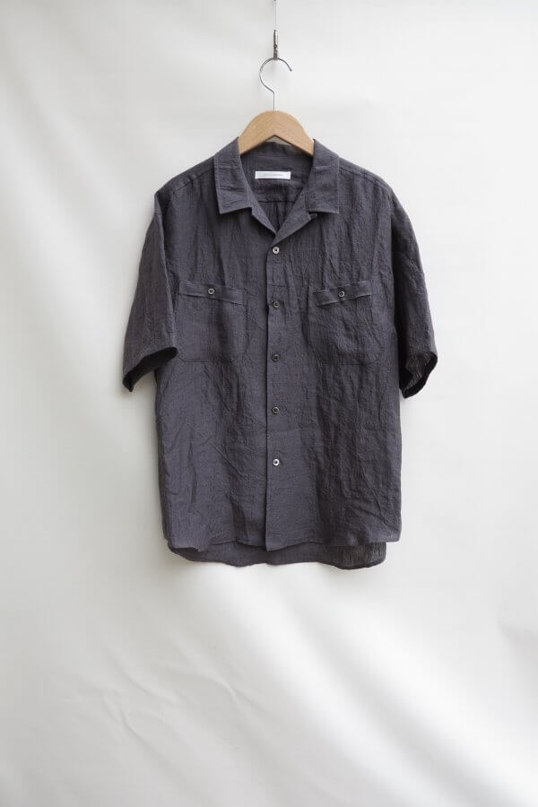 Round Pocket Oepn Collar Linen Shirt