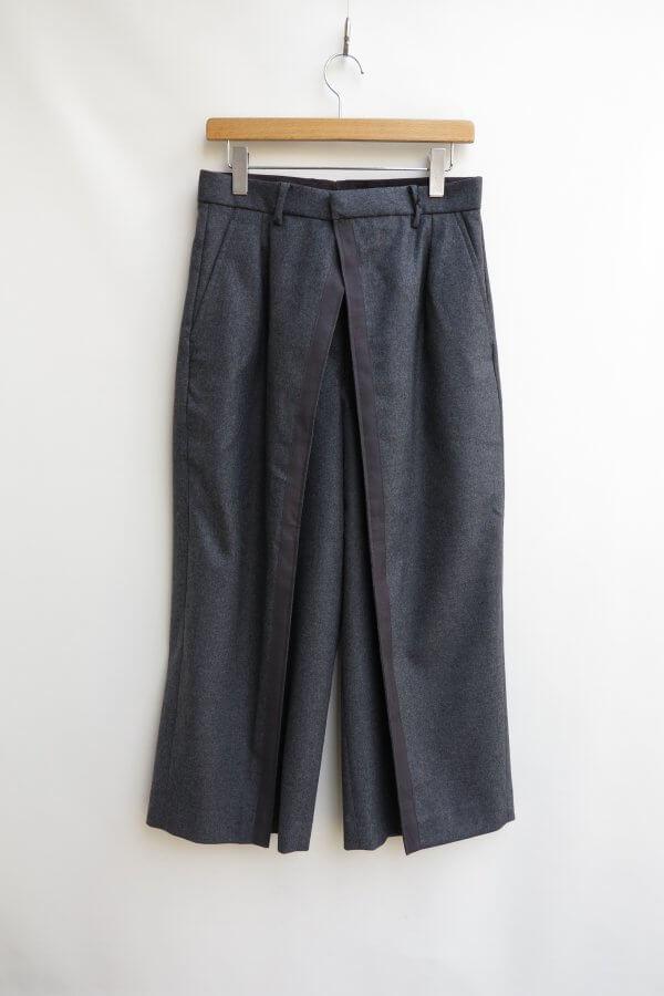 Wool Flannel Dubble Front Wide Pants